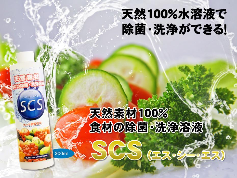 天然成分100%食材の除菌・洗浄溶液SCS、300ml